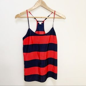 J. Crew Printed Racerback Cami red navy blue 0
